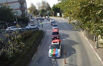 Modifiye araç tutkunlarından Azerbaycan'a konvoylu destek
