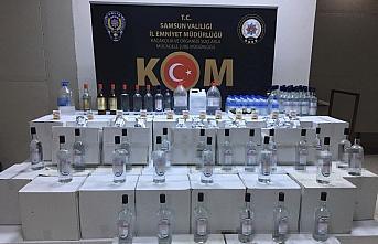 Samsun'da 645 litre etil alkol ve 39 şişe kaçak içki ele geçirildi