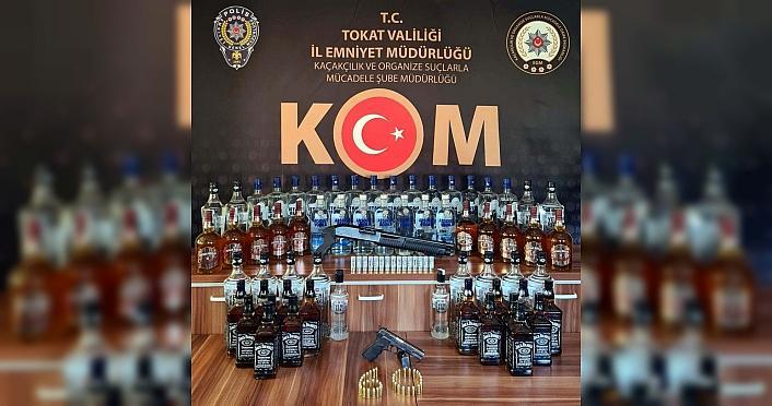 Tokat'ta 63 şişe sahte içki ele geçirildi