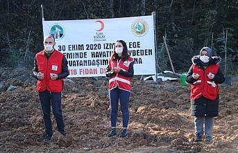 İzmir depreminde hayatını kaybedenlerin anısına 116 fidan dikildi