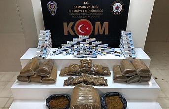 Samsun'da 18 bin 200 makaron ile 58 kilogram tütün ele geçirildi