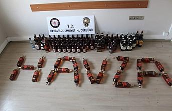 Samsun'da 101 şişe kaçak içki ele geçirildi