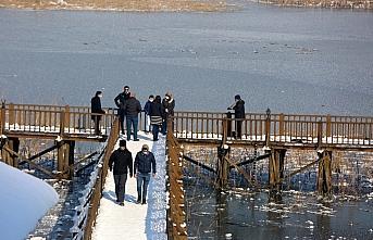 Düzce'deki Efteni Gölü buz tuttu