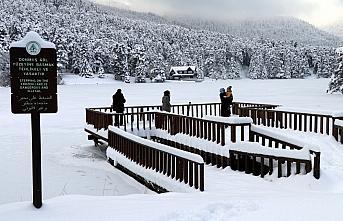 Gölcük Tabiat Parkı'ndaki gölün yüzeyi buz tuttu