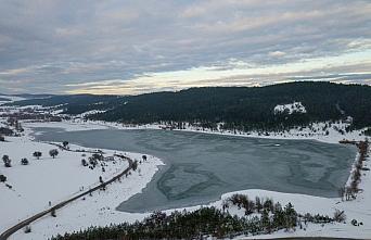 Karabük'te kar manzarası havadan görüntülendi