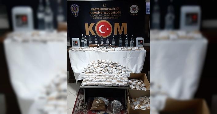 Kastamonu'da sahte içki ve sigara kaçakçılığı...