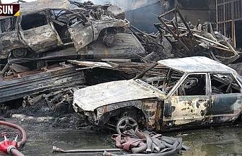 Samsun Sanayi sitesi yandı, 5 dükkan 6 araç yandı