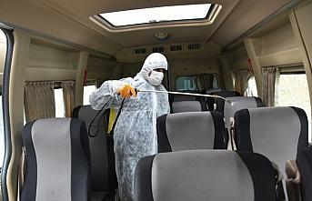 Boyabat ilçesinde toplu taşıma araçları dezenfekte...