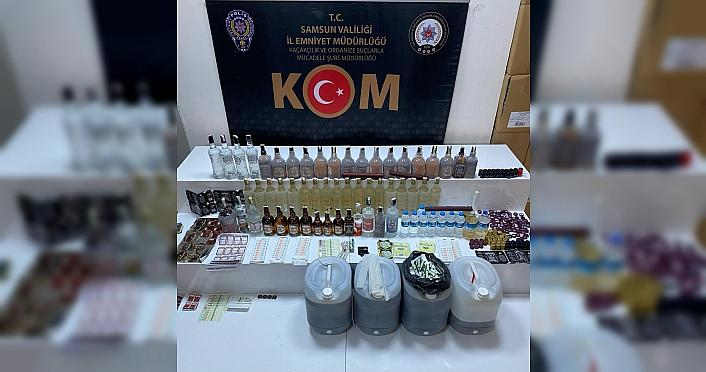 Samsun Atakum'da kaçak içki operasyonunda bir kişi yakalandı