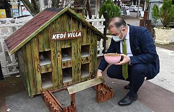 Görele Belediyesi sokak hayvanları için kulübe, su ve mama kapları yerleştirdi