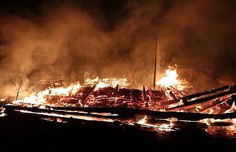 Kastamonu'da 2 ev, 2 ahır ve samanlığın hasar gördüğü yangın söndürülmeye çalışılıyor