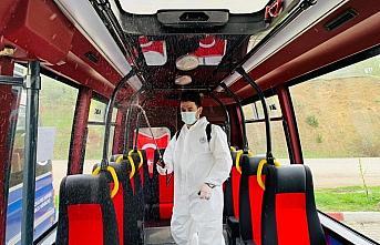 Niksar'da toplu taşıma araçları dezenfekte edildi