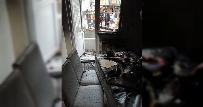 Samsun'da evinde yangın çıkaran genç polis merkezine götürüldü