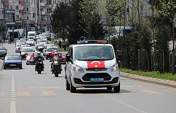 Trabzon Emniyet Müdürlüğü ekiplerinden bayram nedeniyle kortej geçişi