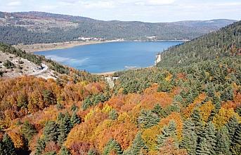 Abant'ın sonbahar renkleri havadan görüntülendi