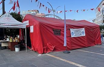 Giresun'da Kovid-19 aşı çadırına zarar verildi