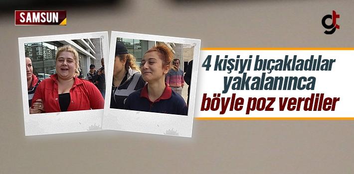 Samsun Canik'te 4 Kişiyi Bıçakla Yaralayan Kızlar...