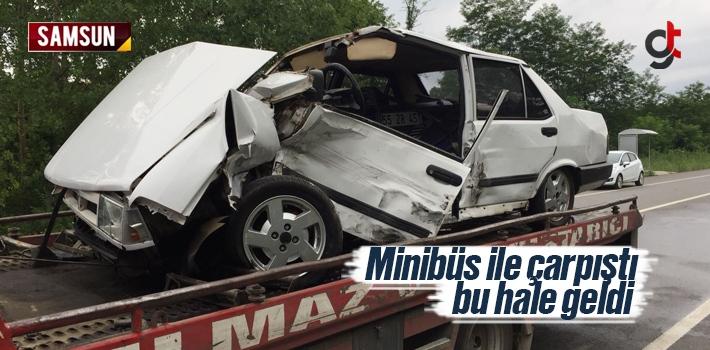 Samsun Salıpazarı'nda Minibüs ile Otomobil Çarpıştı