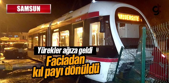 Samsun Tekkeköy'de Tramvay Raydan Çıktı