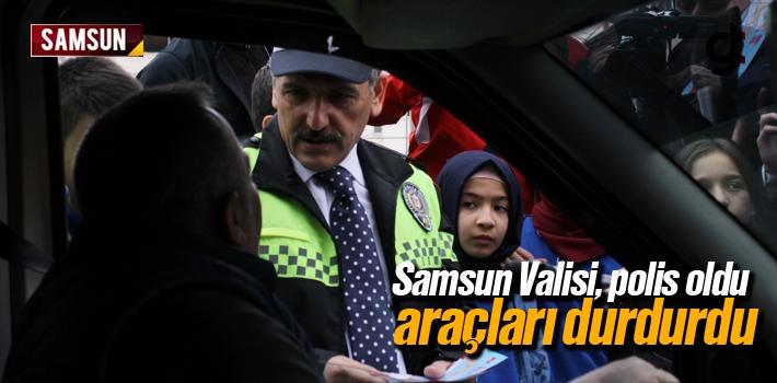 Samsun Valisi Polis Oldu, Araçları Durdurdu