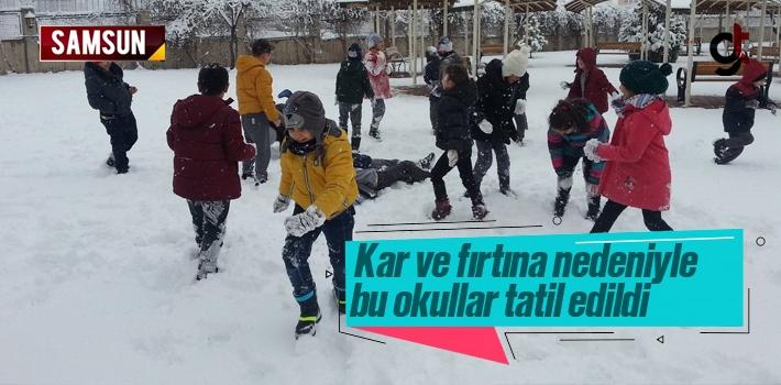 Samsun'da 11 Ocak Cuma Günü Kar Tatili Edilen Okullar