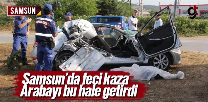 Samsun'da Biçerdöver ile Binek Araç Kaza Yaptı...