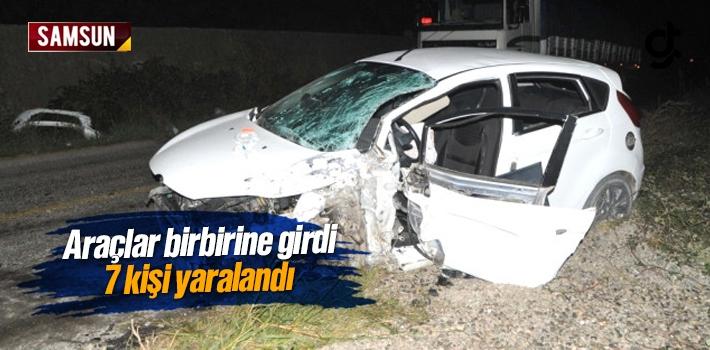 Samsun'da İki Araç Kaza Yaptı 7 Kişi Yaralandı