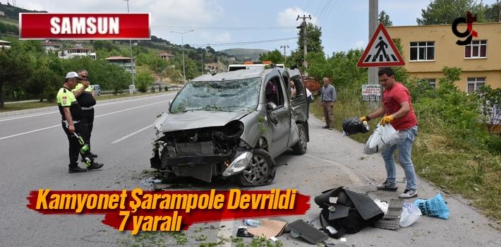 Samsun'da Kamyonet Şarampole Devrildi