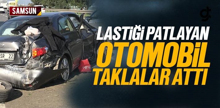 Samsun'da Lastiği Patlayan Araç Taklalar Attı