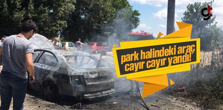 Samsun'da Park Halindeki Araç Cayır Cayır Yandı!