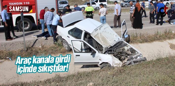Samsun'da Sulama Kanalına Giren Aracın İçinde...