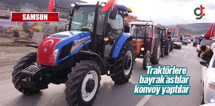Samsun'da Traktörlere Bayrak Asıp Sokağa Çıktılar
