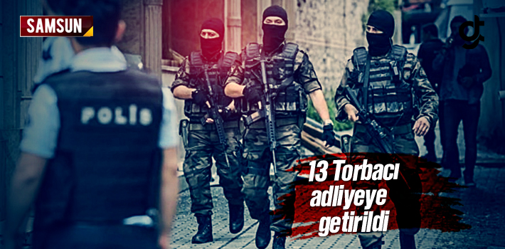 Samsun'da Uyuşturucu Satan 13 Torbacı Adliyeye Getirildi