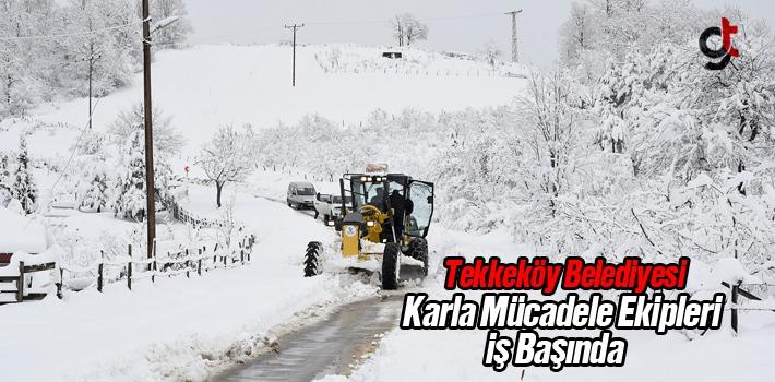 Tekkeköy Belediyesi Karla Mücadele Ekipleri İş...