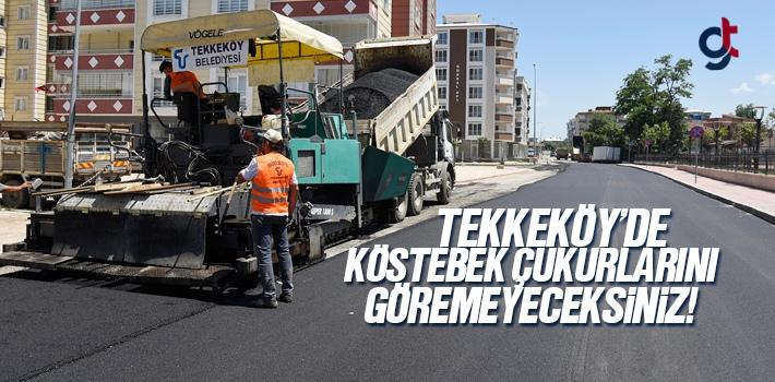 Tekkeköy'de Asfaltlama Çalışmaları Hızla Sürüyor