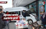 Samsun'da Öğrenci Taşıyan Minibüs Markete Girdi